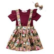 Toddler Baby Girl Skirt Outfit Ruffle Short Sleeve Romper+Suspender Skirt Clothes Set