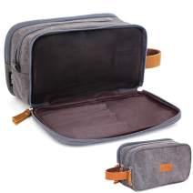 Toiletry Bag for Men, Mens Dopp Kit Travel Shaving Kit Bag for Shower Water-reistant (Dark Gray Canvas)