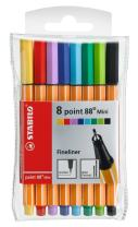 STABILO Point 88 Mini wlt 8 Assorted Colours - Fineliner