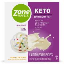 ZonePerfect Keto Powder, Vanilla Frosting Flavor, True Keto Macros, Made With MCTs, 1.12 oz, 20 Count