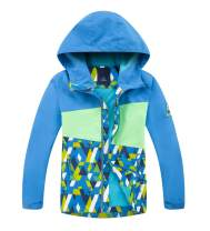 LOKTARC Boys Girls Color Block Raincoats Hooded Lightweight Waterproof Fleece Lined Jacket
