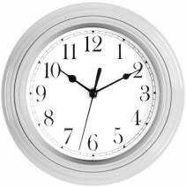 Foxtop Silver Wall Clock, 9 inch Silent Non-Ticking Quartz Decorative Classic Battery Operated Clock for Kitchen Classroom Home Easy to Read