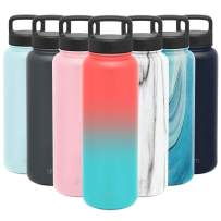 Simple Modern 40 Ounce Summit Water Bottle - Stainless Steel Liter Flask +2 Lids - Wide Mouth Tumbler Double Wall Vacuum Insulated Multi Leakproof Ombre: Havana