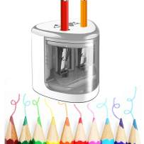 Electric Pencil Sharpener, Colored Pencil Sharpener with Dual Hole, Battery Operated Pencil Sharpener Ideal for Colored Pencils, Eyebrow Pencils-Safety Pencil Cutter for Kids Artists Students