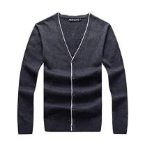 JEKAOYI Men's V-Neck Cardigan Sweater Casual Slim Fit Knitted Button-Down Sweaters