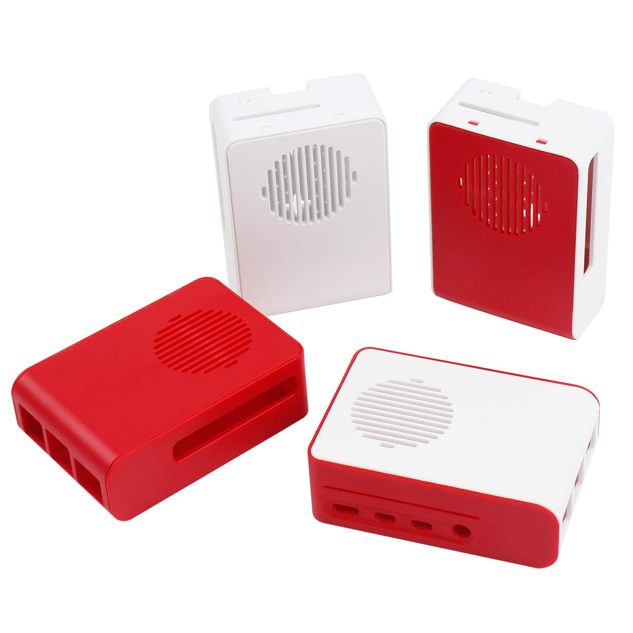 Yahboom Raspberry Pi 4B Color Mixing Custom Case with Large LED Cooling Fan (2 PCS Red & White) (3 Colors Optional)