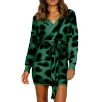 Newbestyle Womens Leopard Printed Cable Knit Bodycon Sweater Mini Dress Wrap V Neck Batwing Sleeve Pencil Dress with Belt