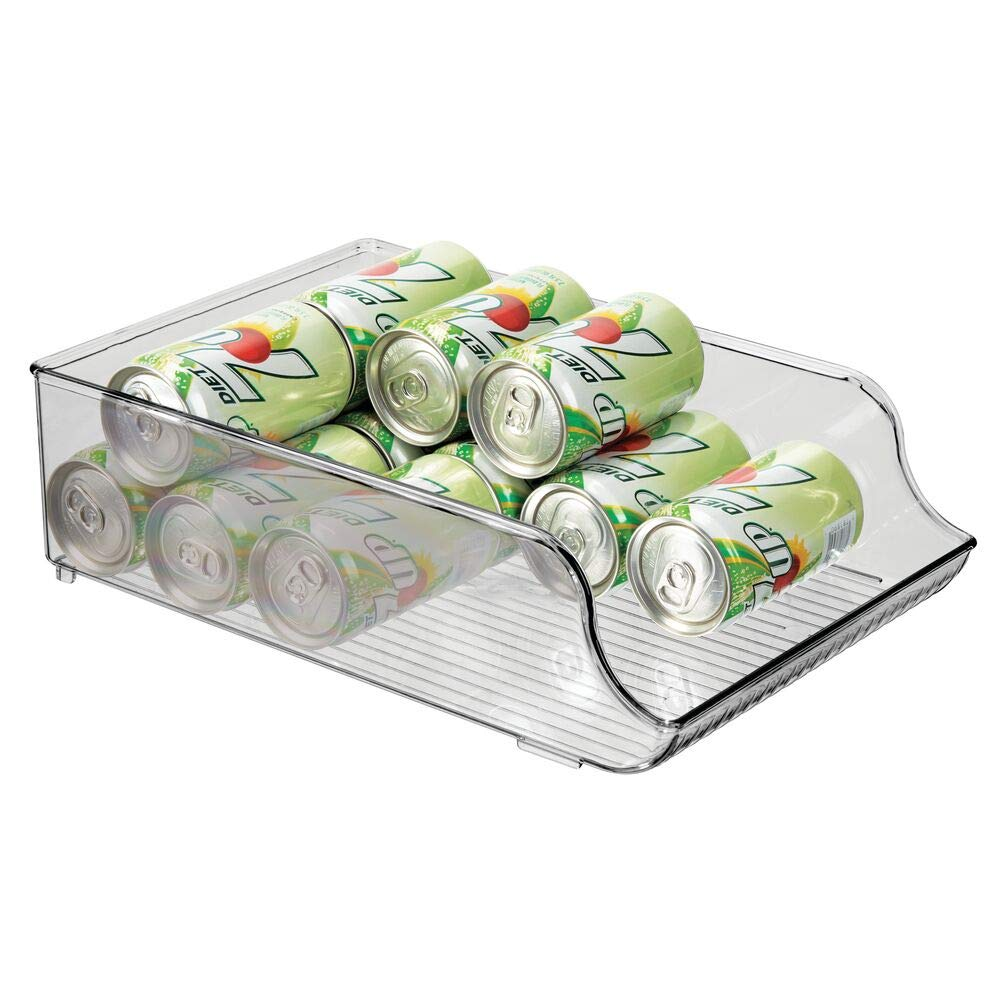 mDesign Wide Plastic Kitchen Mini Pop/Soda Can Storage Organizer Tray Rack - Holder and Dispenser for Refrigerators, Freezers, Cabinets, Pantry, Garage - Holds Drink Cans, Water Bottles - Smoke Gray