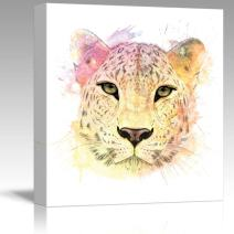 wall26 - Fun and Colorful Splattered Watercolor Cheetah - Canvas Art Home Decor - 16x16 inches