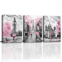 CANVASZON Large Wall Art for Bedroom Living Room Bathroom Black and White Paris Decor Print for Girls' Rooom Pink Paris Theme London Big Ben Tower Eiffel Tower Painting