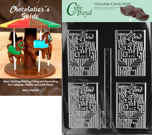 Cybrtrayd Computer Chip Chocolate Candy Mold with Chocolatier's Guide Instructions Book Manual