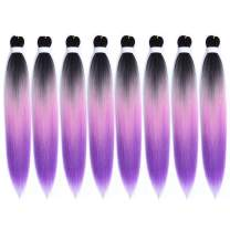 WOME Pre-stretched Braid Professional Braiding Hair Extension Ombre Pink to Purple 24 Inch 8 Packs Hot Water Setting Perm Yaki Synthetic Hair for Twist Braids