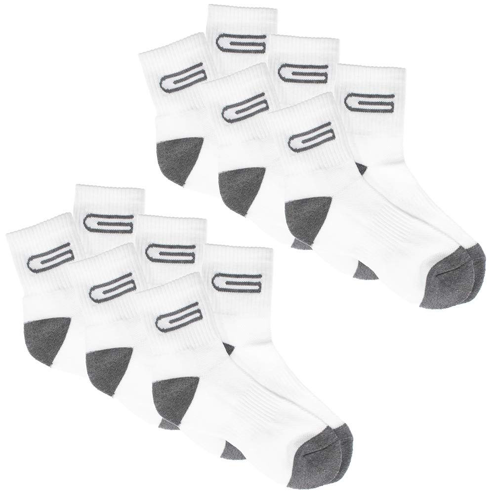 Women's Mid-Calf Cushion Crew Socks - 6 Pack of Black and Charcoal Gray - Hiking Walking Outdoor Recreation Wicking Socks