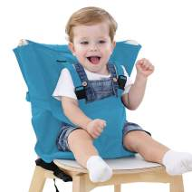 Easy Seat Portable High Chair Safety Washable Cloth Harness Travel High Chair for Infant Toddler Feeding with Adjustable Straps Shoulder Belt (Light Blue) …