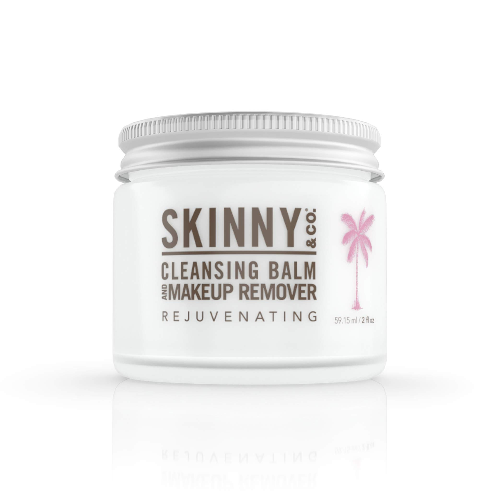SKINNY & CO. Rejuvenating Cleansing Balm and Makeup Remover- 3-in1 Formula, Makeup Remover, Cleanser & Moisturizer   For Dry/Aging Skin, Firms and Smoothes, 100% Raw Coconut Oil, Paraben Free, 2 oz.