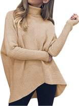 Poetsky Womens Turtleneck Pullover Sweater Loose Batwing Sleeve Knit Oversized Asymmetric Tunic Tops