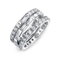 Geometric Cubic Zirconia AAA CZ Round Baguette Stackable Eternity 3 Wedding Band Ring Set For Women 925 Sterling Silver