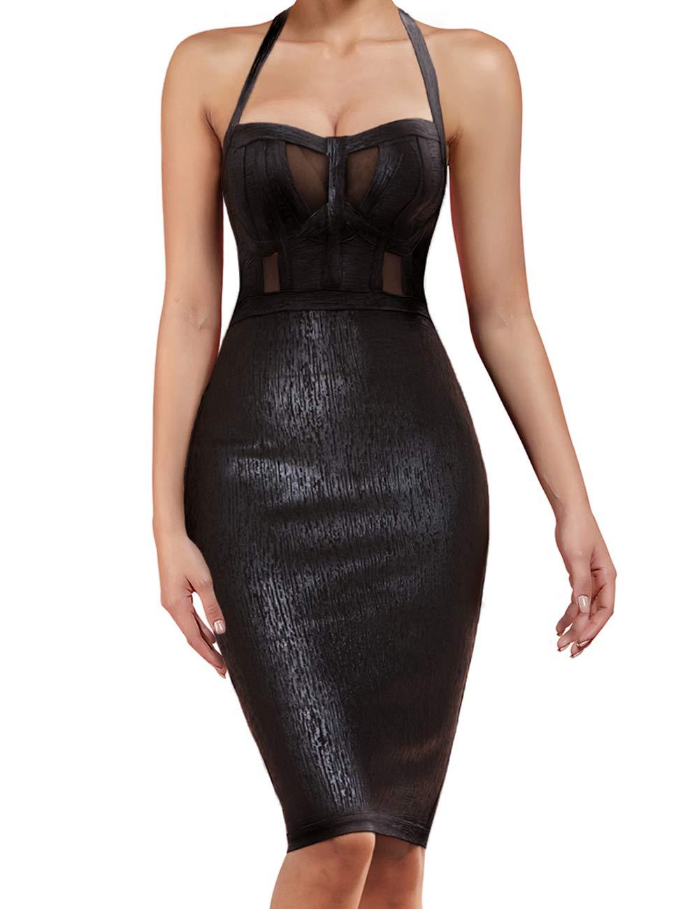UONBOX Women's Sexy Rayon Halter Strapless Foil Sheer Mesh Bodycon Bandage Dress Black