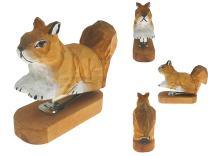 Vivid Handmade Wood Carving Cartoon Mini Animal Stapler for School Office Stationery Children Christmas Gift (Squirrel)