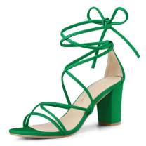 Allegra K Women's Strappy Straps Lace Up Chunky Heel Sandals