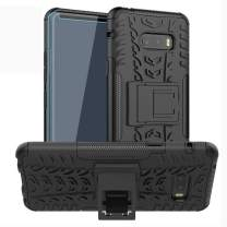 SKTGSLAMY LG G8X ThinQ Case, with HD Screen Protector, [Shockproof] Tough Rugged Dual Layer Protective Case Hybrid Kickstand Cover for LG G8X ThinQ (Black)