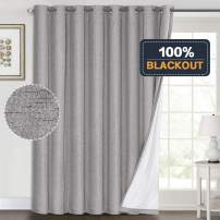 100% Blackout Linen Look Patio Door Curtain 96 Inches Long Extra Wide Thermal Insulated Grommet Curtain Drapes for Living Room/Sliding Glass Door, Primitive Winow Treatment Decoration, Dove