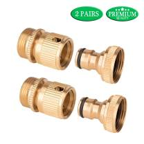 Linkax Garden Hose Quick Connect Solid Brass Quick Connector 3/4 inch GHT Quick Disconnect 4 Pcs 2 Male 2 Female