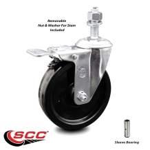 "Phenolic Swivel Threaded Stem Caster w/5"" x 1.25"" Black Wheel and 1/2"" Stem & Total Locking Brake - 300 lbs Capacity/Caster - Service Caster Brand"