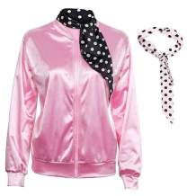 1950s Pink Satin Jacket with Neck Scarfs (Black and White) Girls Women Halloween Fancy Dress Costume
