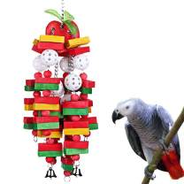 Coppthinktu Parrot Toys Large, Apple Banana Bird Chewing Toys, Non-Toxic Easy to Install Bird Block Toys with Bells, for Medium and Large Parrots and Birds Like Amazon, African Grey, and Cockatoos