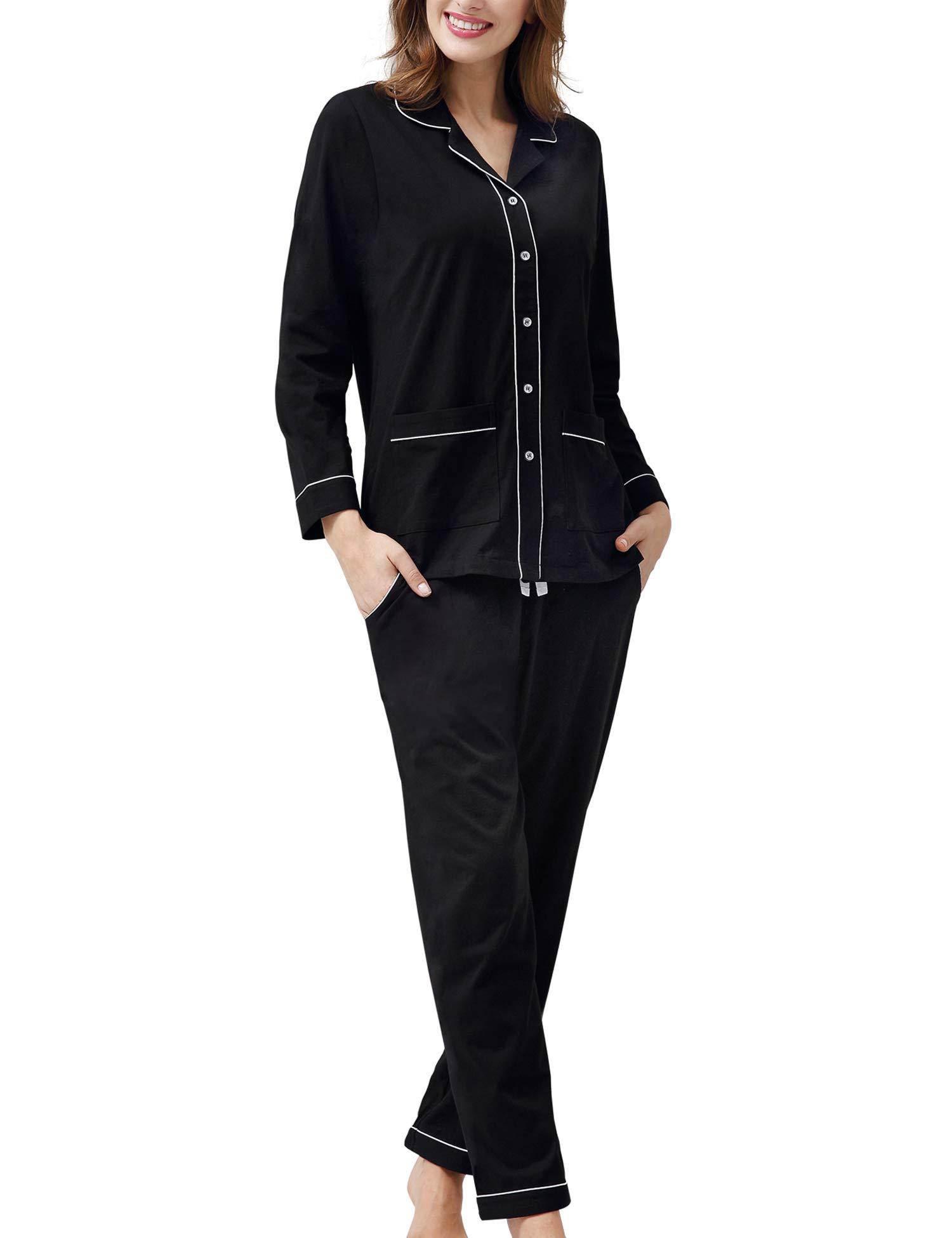 COLORFULLEAF Women 100% Cotton Knit Pajamas Set Button Down PJ Top & Lounge Pants with Pockets