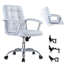 Mid-Back Office Chair Home Computer Desk Chair,Executive Lumbar Support with Wheels,Comfortable Leather,360 Swivel Rolling,Height Adjustable (White)