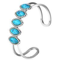 U7 Unisex Simple Cuff Bracelet 18K Real Gold Platinum Plated Fine Bracelets Fashion Jewelry Heart/Crescent Moon/Turquoise/Photo Custom Bangle