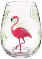 DEI 11505 Stemless Wine Glass, 4.5 x 4.5 x 5.25, Pink/Green
