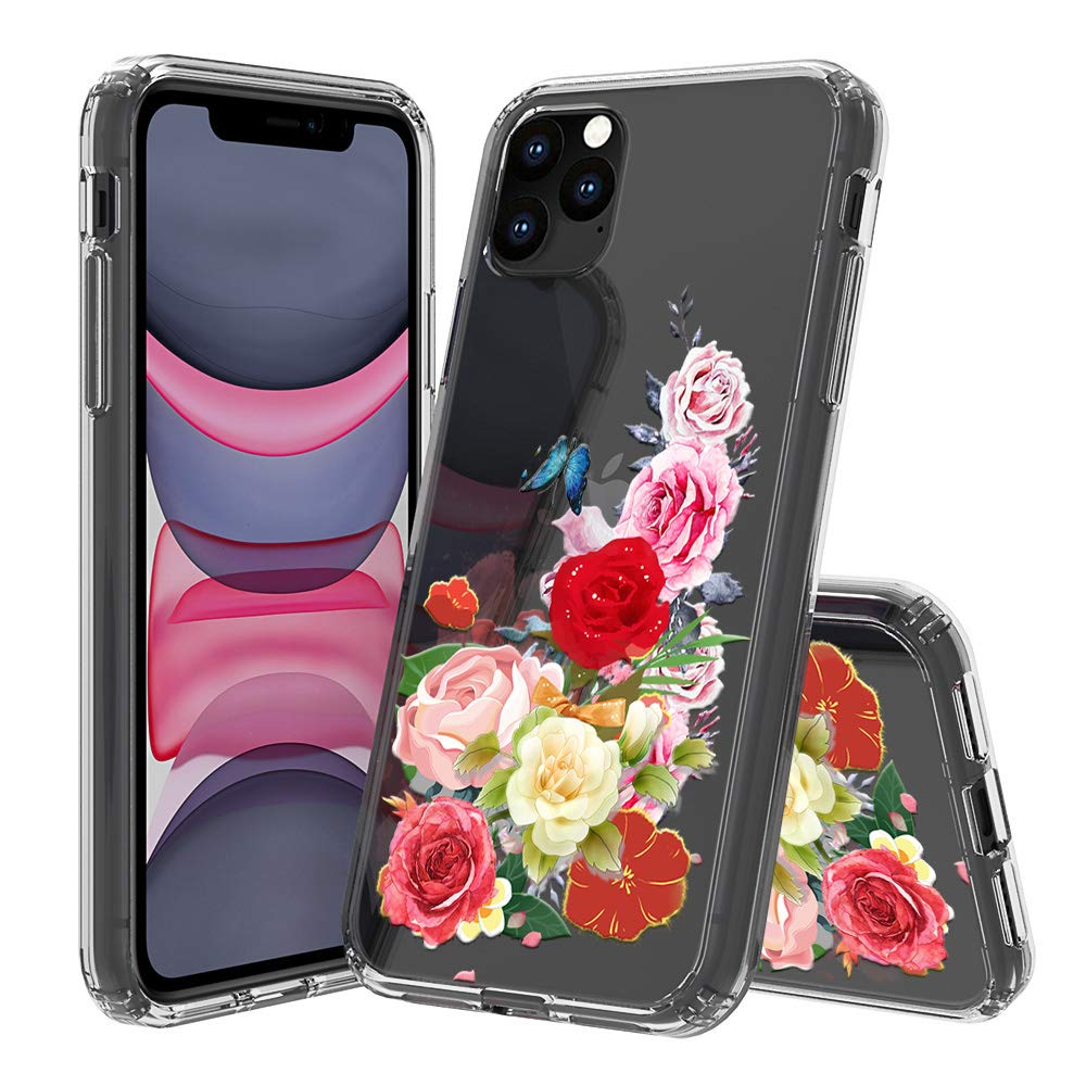 """HUIYCUU Compatible with iPhone 11 Pro MAX Case 6.5"""", Shockproof Anti-Slip Cute Glitter Clear Design Crystal Pattern Slim Fit Soft Bumper Girl Women Cover Case for iPhone 11Pro Max, Rose Flower Leaf"""