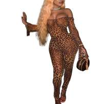 kaimimei Women's Sexy One Shoulder Animal Print Rompers Flare Sleeve Long Bodysuits Jumpsuits Nightclub