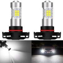 KATUR 5202 5201 LED Fog Light Bulbs Max 80W High Power Super Bright 2000 Lumens 6500K Xenon White with Projector for Driving Daytime Running Lights DRL or Fog Lights,12V -24V (Pack of 2)