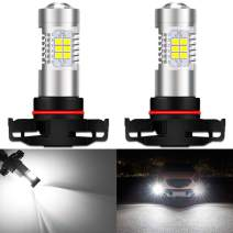 KATUR 5202 5201 LED Fog Light Bulbs Max 80W High Power Super Bright 2000 Lumens 6500K Xenon White with Projector for Driving Daytime Running Lights DRL or Fog Lights,12V -24V (Pack of 2)