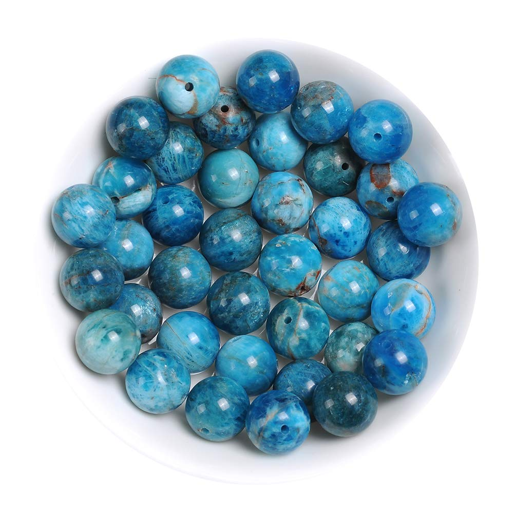 """Natural Stone Real 4mm Ocean Apatite Gemstone Round Loose Beads Crystal Energy Stone Healing Power for Jewelry Making DIY,1 Strand 15"""""""