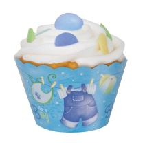 Blue Clothesline Boy Baby Shower Cupcake Wrappers, 12ct