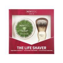 Men Rock Shaving Brush Set with Sicilian Lime Shave Cream, The Life Shaver Smooth Shave Cream Brush Kit, Premium Shaving Cream and Quality Shaving Brush, Shaving Gift Set for a Comfortable Shave