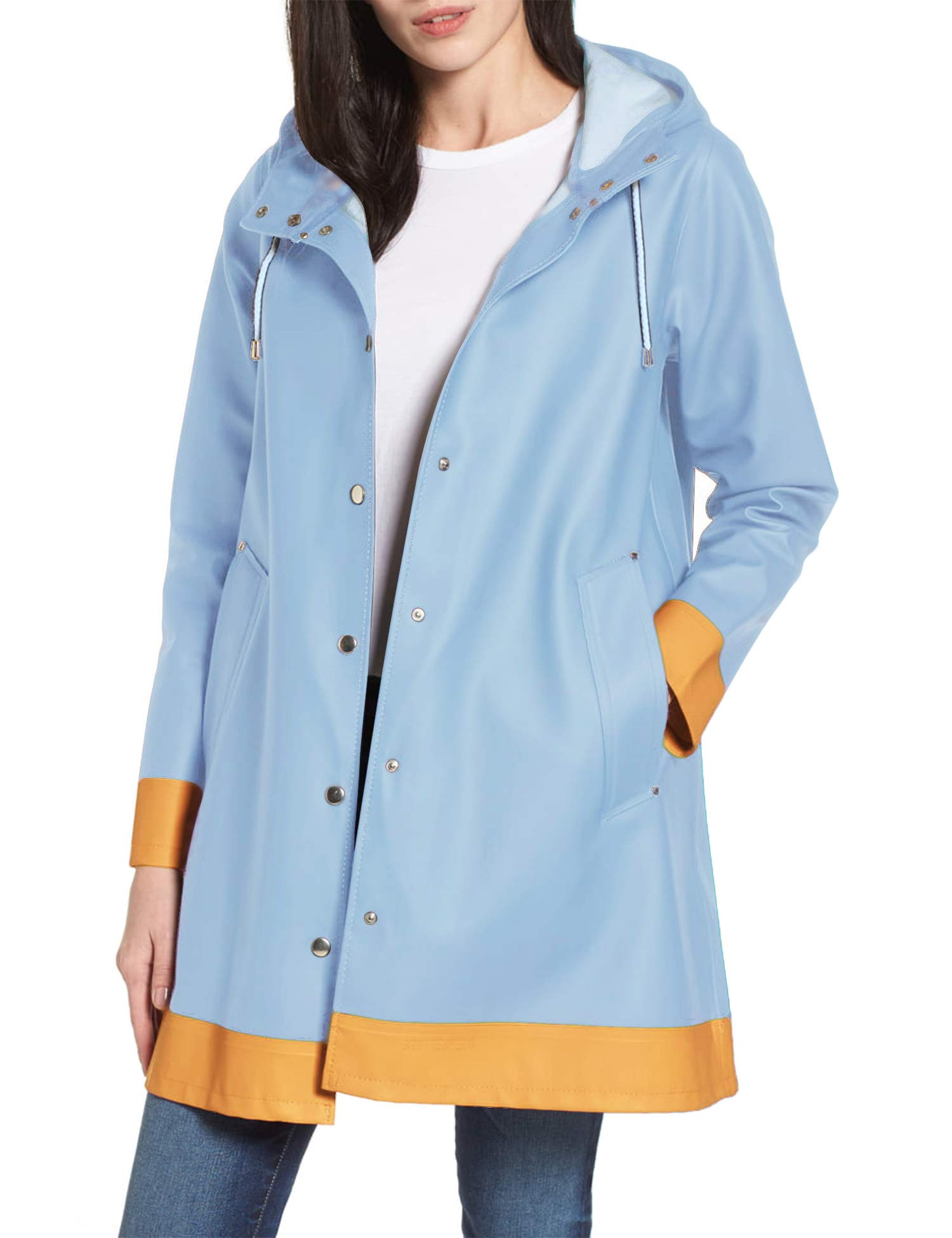 SUNAELIA Women Raincoat with Hood Waterproof Rain Jacket Contrast Outdoor Lightweight Rain Coats