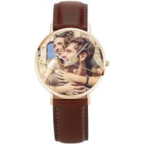 SOUFEEL Custom Photo Watch for Women Men - Personalized Engraved Watch with Name Customized Unique Wrist Watches Leather Personalized Gift for Him Family Boyfriend Girlfriend Brown Silver