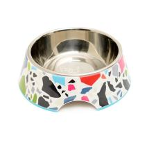 French Bull Stainless Steel and Melamine Designer Dog Bowls for Dogs or Cats, Small, White