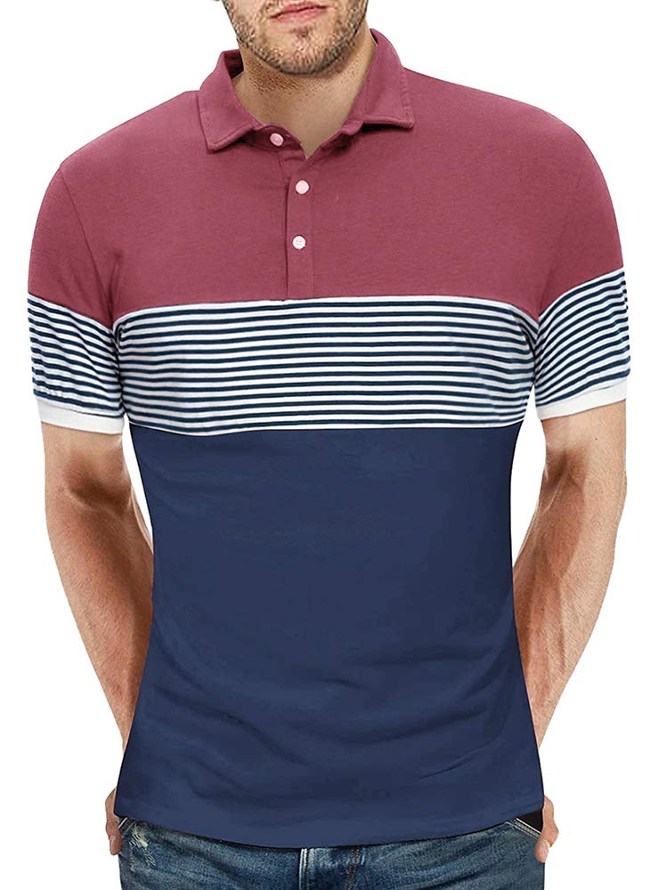 Karlywindow Mens Short Sleeve Polo Shirts Stripe Color Block Slim Fit Summer Casual Cotton T-Shirt