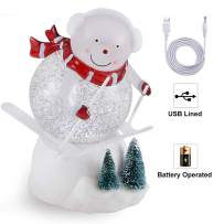 pearlstar Lighted Snow Globe Figurine - 7.3'' Cute Skiing Snowman, Water Snow Globe with Swirling Glitter and Battery & USB Powered, Great Home Decoration and Gift (Snowman)