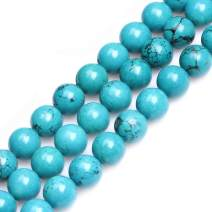 GEM-Inside 12mm Turquoise Gemstone Loose Beads Round Beads for Jewelry Making Jewelry Beading Supplies for Women Dyed