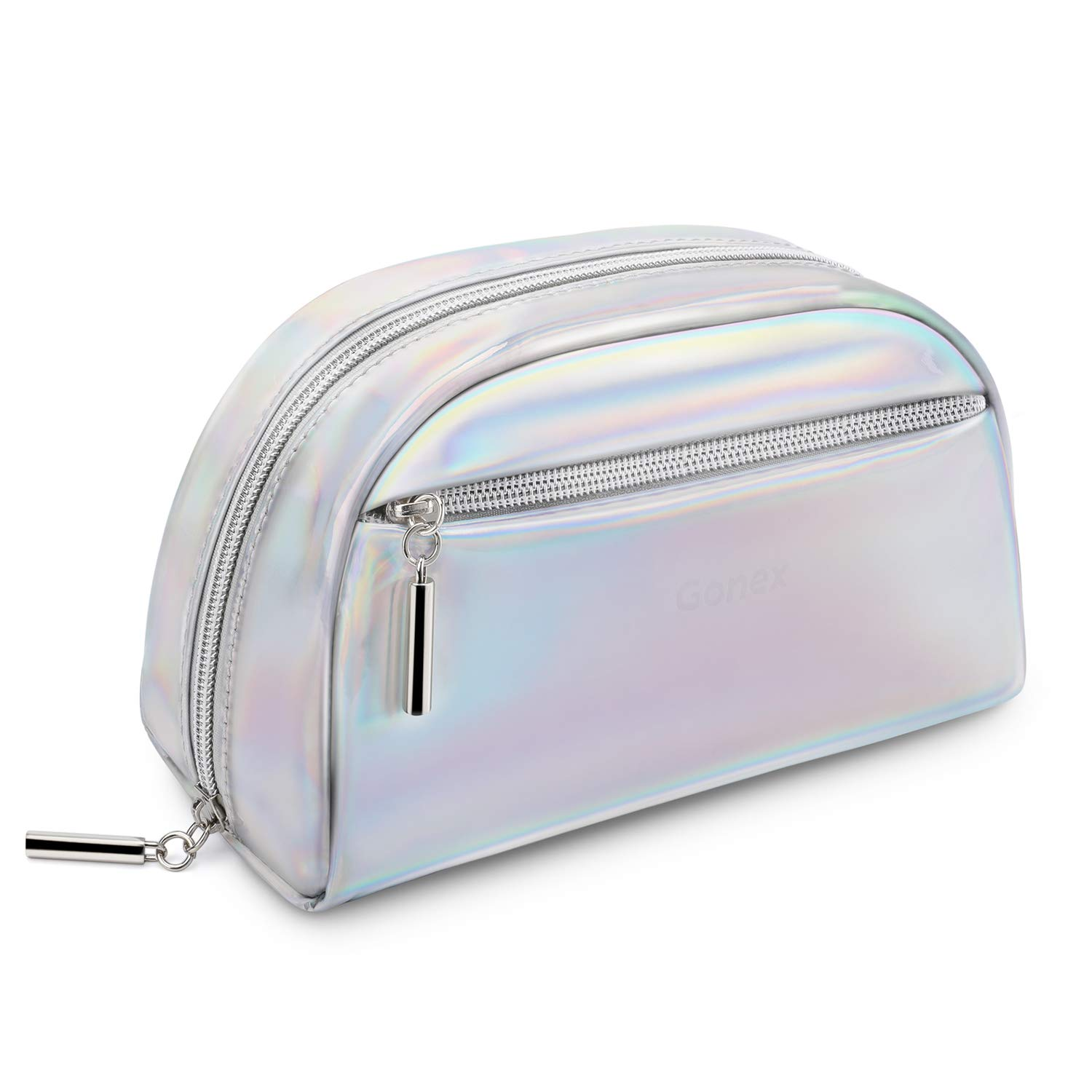 Gonex Small Makeup Bag for Purse Metallic Silver Cosmetics Bag PU Leather Travel Pouch for Women Girls Gifts Portable Water-Resistant Daily Storage Organzier, Silver