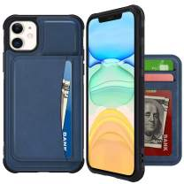 VEGO Wallet Case Compatible with iPhone 11 Pro Max with Credit Card Holder Slots, PU Leather Flip Kickstand Cover Magnetic Closure Case for iPhone 11 Pro Max 6.5 inches (Blue)