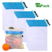 TEENKON 15Pcs Premium Mesh Produce Bags, Reusable Eco-Friendly Bag, Washable Strong, for Fruit, Vegetable, Toys, Grocery, and Supermarket Shopping Storage, (D-blue, 15)